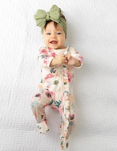 Josie Floral Ruffle Zippered Footed Romper