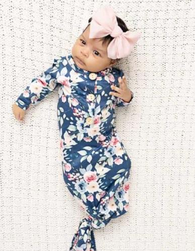 Baby Girl Gown Gown Baby Girl Clothes Knotted Baby Gown