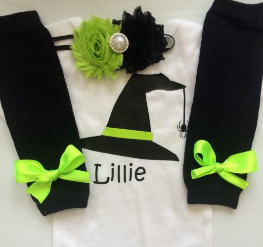 Personalized Black & Green Witch Halloween Bodysuit