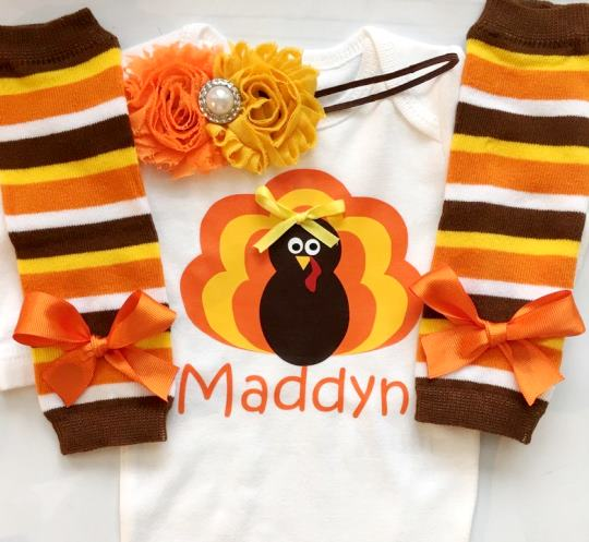 Personalized Thanksgiving Turkey Bodysuit