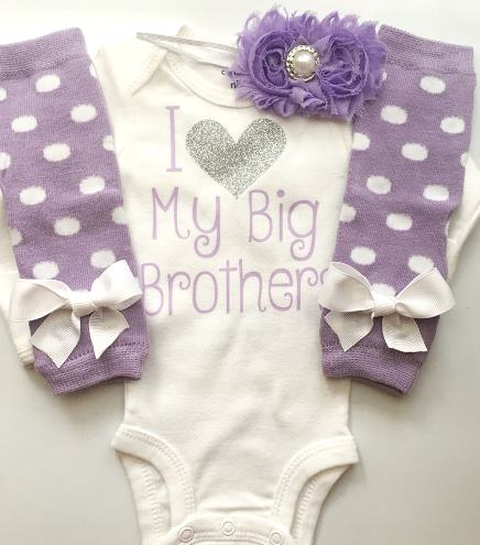 I Love My Big Sibling White & Lavender Outfit Set