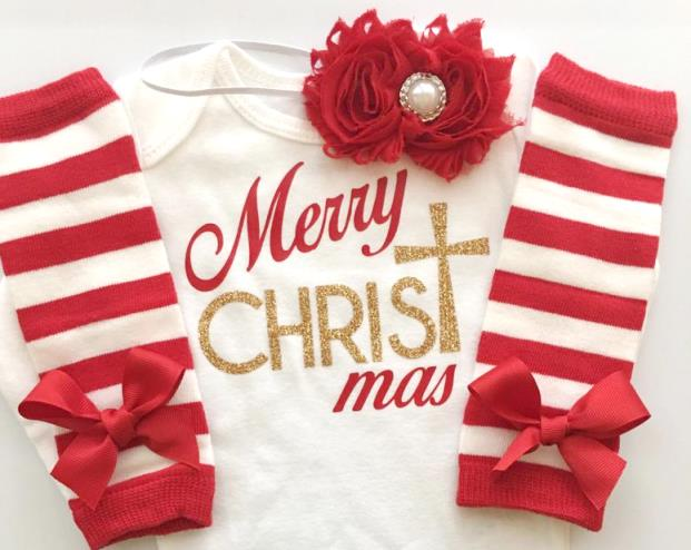 Merry Christmas Red & Gold Bodysuit