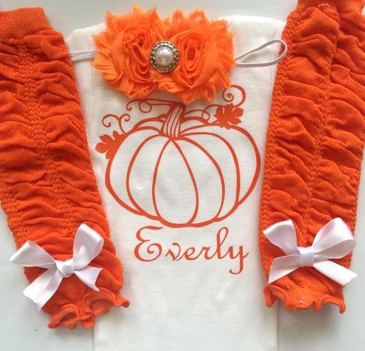 Newborn Personalized Pumpkin Fall Bodysuit