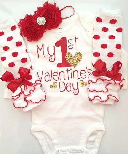 Red & White 1st Valentine's Day Bodysuit