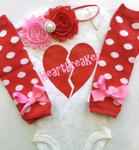 Heart Breaker Hot Pink & Red Valentine Bodysuit