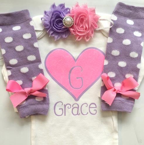 Personalized Hot Pink & Purple Valentine Heart Bodysuit