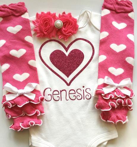 Personalized Hot Pink Heart Valentine Bodysuit