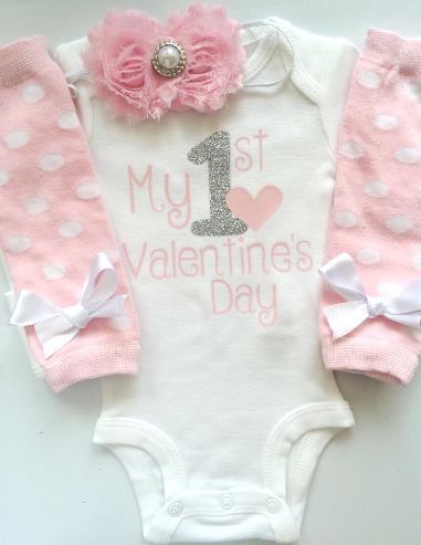 Newborn Sweet Pink 1st Valentine's Day Bodysuit