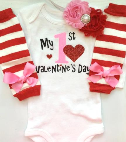 My 1st Valentine's Day Red & Hot Pink Bodysuit