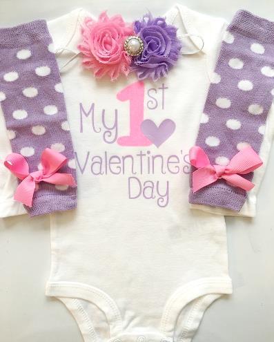 Purple & Hot Pink 1st Valentine's Day Bodysuit