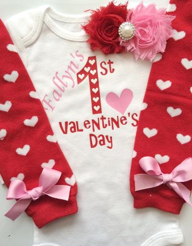 Personalized Red & Hot Pink 1st Valentine's Day Bodysuit