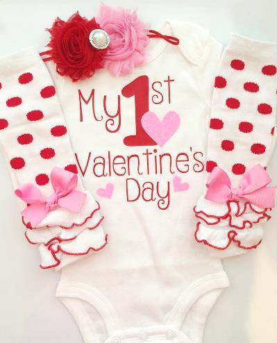 Hot Pink Glitter Hearts 1st Valentine's Day Outfit with Matching Headband & Leg Warmers