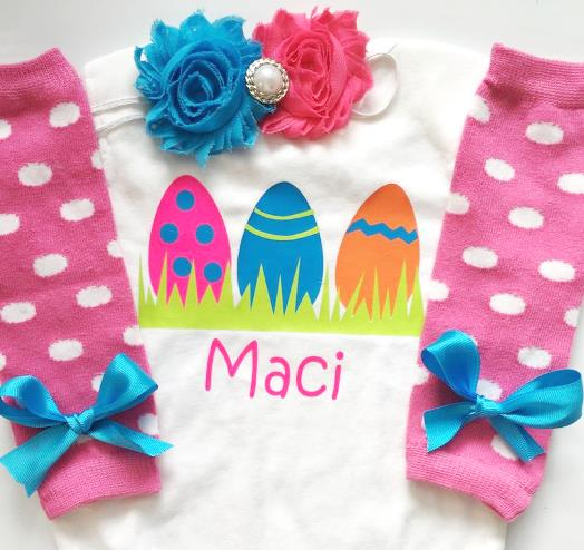 Personalized Newborn Bright Easter Eggs Outfit with Matching Headband & Leg Warmers