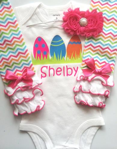 Personalized Bright Easter Eggs Bodysuit