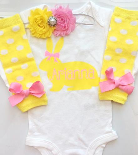 Yellow & Pink Personalized Easter Bunny Bodysuit