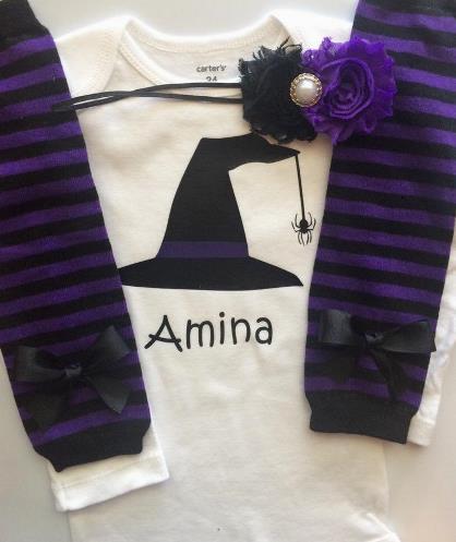Personalized Purple & Black Witch Halloween Bodysuit
