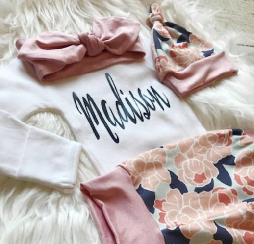 Personalized Navy & Blush Floral Newborn Outfit