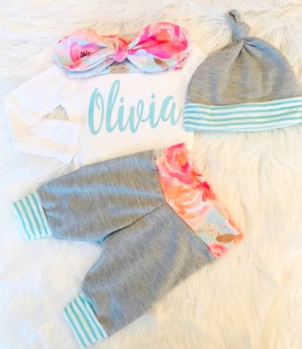 Bright Floral & Gray Personalized Newborn Outfit