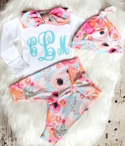 Bright Floral Monogram Newborn Outfit