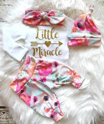 Bright Floral Little Miracle Newborn Outfit