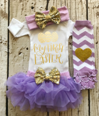 My First Easter Lavender & Gold Tutu Outfit