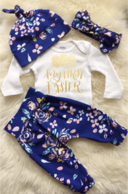 Blue Floral First Easter Outfit