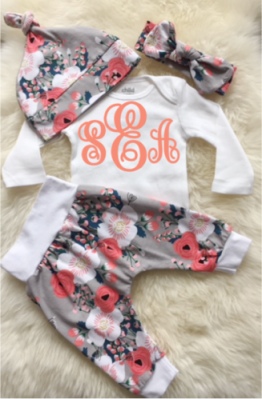 Coral & Gray Monogram Floral Spring Outfit