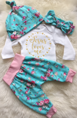 Jesus Loves Me Floral Easter Outfit
