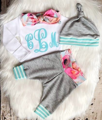 Bright Floral & Gray Monogram Newborn Outfit