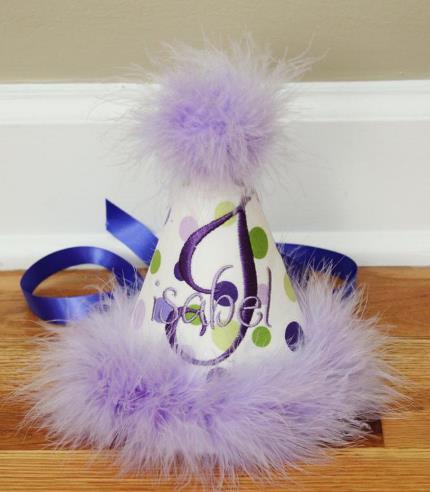 Personalized Purple & Green 1st Birthday Hat