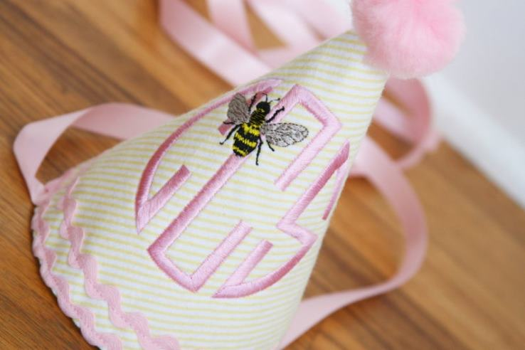 Personalized Pink & Yellow Bee Birthday Party Hat