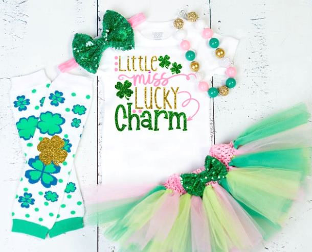 Little Miss Lucky Charm St Patricks Day Outfit Too Cute To Pinch St Patricks Day Parade