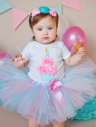 First Birthday Aqua & Pink Cupcake Tutu Outfit with Matching Headband