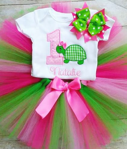 Personalized 1st Birthday Turtle Tutu Outfit