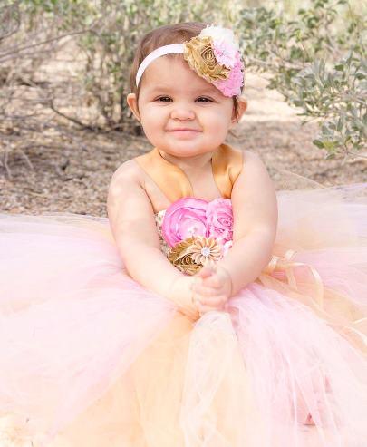 Floral Pink & Gold First Birthday Tutu Dress
