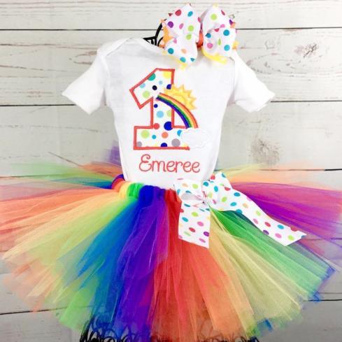 Rainbow Birthday Tutu Rainbow ONE tutu outfit Rainbow Tutu Outfit