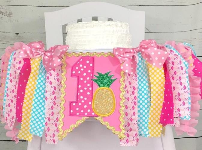 Pineapple Flamingo Luau 1st Birthday High Chair Banner