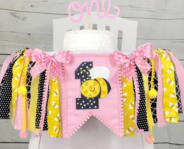 First Birthday Pink Bumble Bee High Chair Tutu Banner