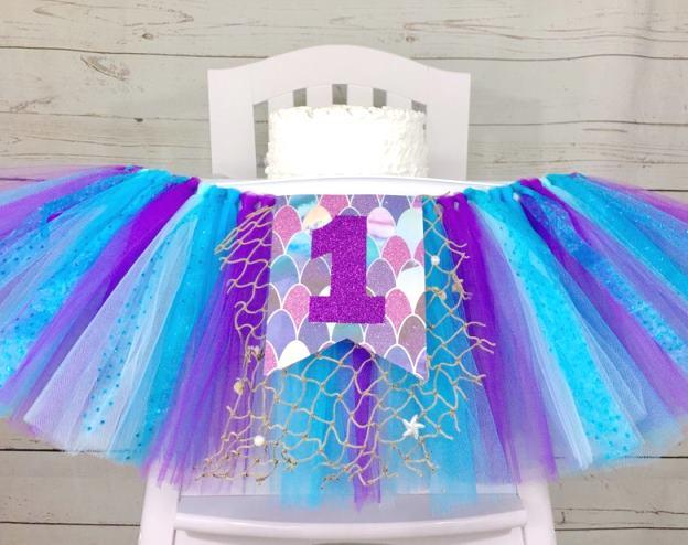 Mermaid First Birthday High Chair Tutu Banner