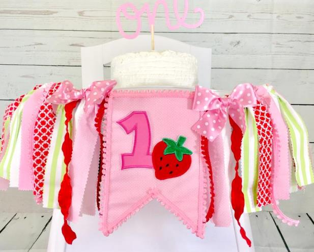 Sweet One Strawberry First Birthday High Chair Banner