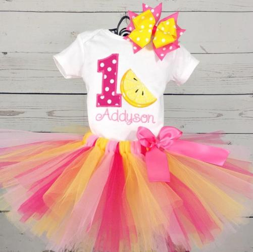 Personalized Lemon Squeeze First Birthday Tutu Outfit