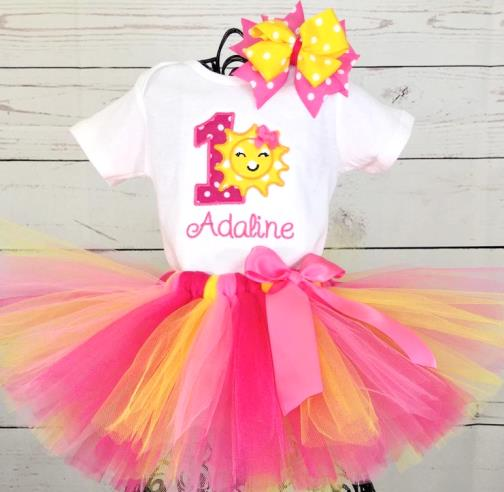Personalized Summer Sunshine 1st Birthday Tutu Outfit