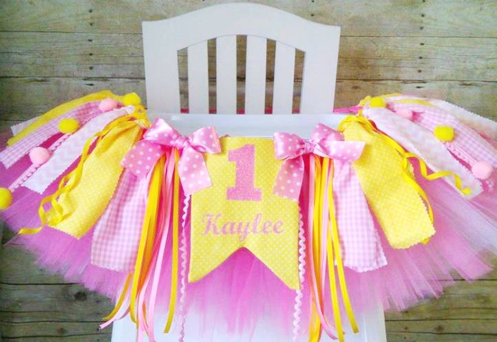 Personalized Pink & Yellow First Birthday High Chair Tutu Banner