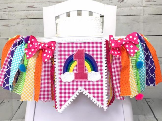 Candy Rainbow 1st Birthday High Chair Banner