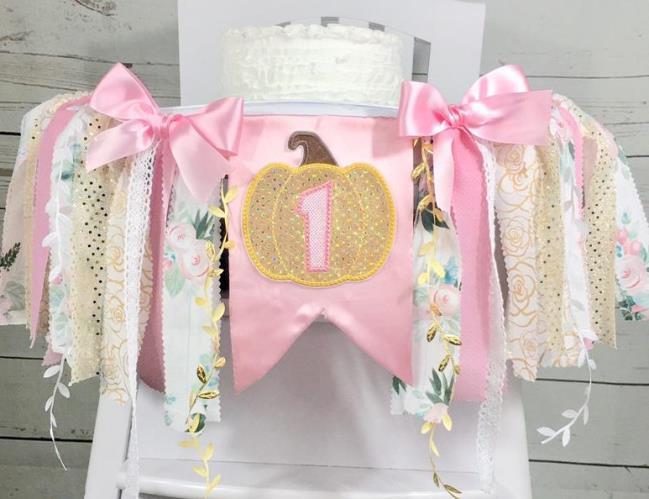 Pink Gold & Floral Pumpkin High Chair 1st Birthday Banner