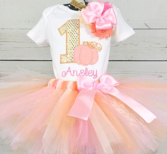 Peach Pink & Gold Pumpkin 1st Birthday Tutu Outfit