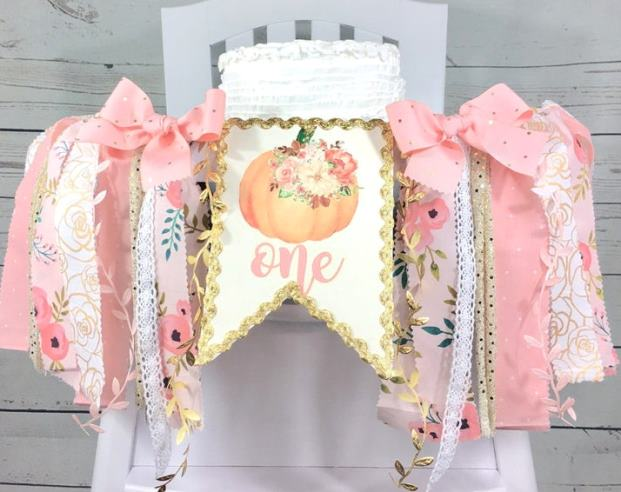 Peach & Gold Floral Pumpkin 1st Birthday High Chair Banner