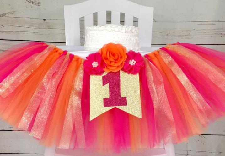 Hot Pink & Orange 1st Birthday High Chair Tutu Banner