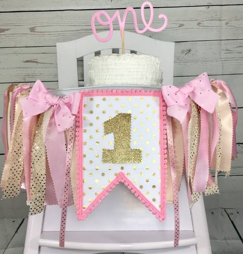 Gold Polka Dot First Birthday Party High Chair Banner