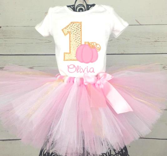 Personalized Pink & Gold Pumpkin 1st Birthday Tutu Outfit